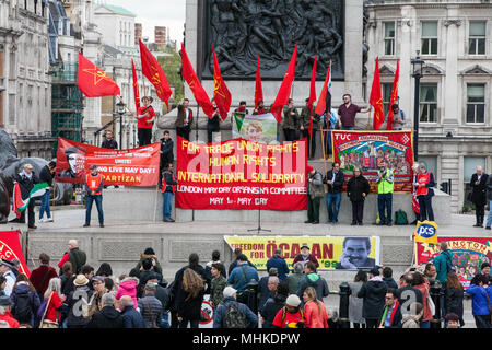 London, UK. 1st May, 2018. Representatives of trade unions and socialist and communist parties from many different countries take part in the annual May Day rally in Trafalgar Square to mark International Workers' Day. Credit: Mark Kerrison/Alamy Live News - Stock Photo