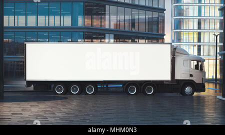 truck mockup on city street at night 3d rendering - Stock Photo