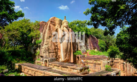 Colossal Statue of Avukana Buddha image, Sri Lanka - Stock Photo