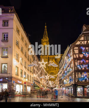 View of Notre-Dame de Strasbourg with Christmas illumination - Stock Photo
