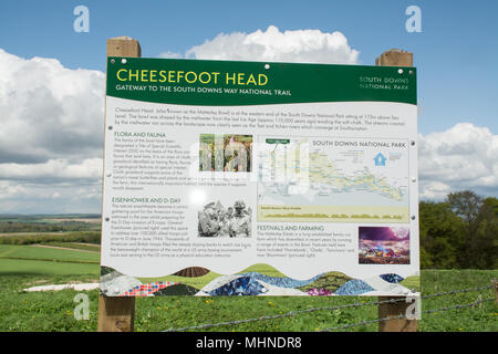 Information board at Cheesefoot Head in the South Downs National Park near Winchester, Hampshire, UK - Stock Photo