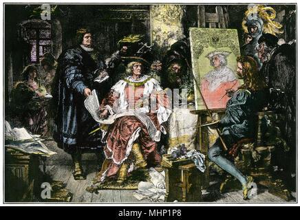 Holy Roman Emperor Maximilian I in Albrecht Durer's portrait studio. Hand-colored woodcut - Stock Photo