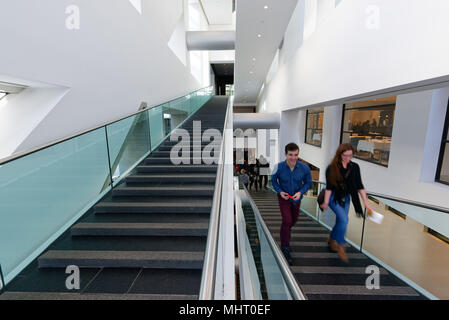 Modern architecture stairs inside Montreal Fine Art Museum - Stock Photo