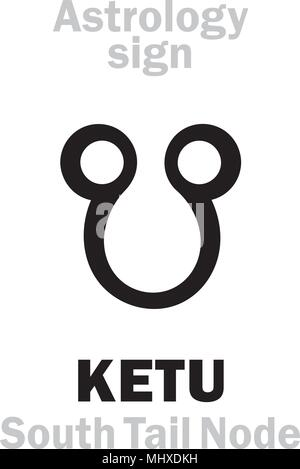 Astrology Alphabet: KETU (Cauda Draconis), Lunar Descending South Tail Node. Hieroglyphics character sign (single symbol). - Stock Photo