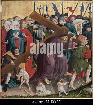 Hans Multscher, (ca. 1400-1467), Wings of the Wurzach Altarpiece, 1437. Detail, Christ carrying the cross. Die Flügel des Wurzacher Altars. - Stock Photo