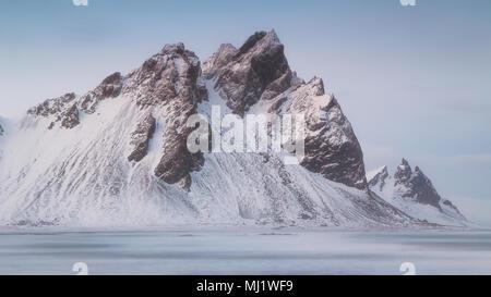 Vestrahorn and  Brunnhorn mountains from Stokksnes in Iceland - Stock Photo
