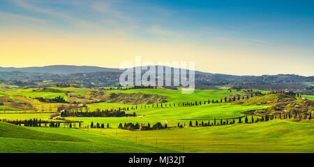 Siena city panoramic skyline, countryside and rolling hills in a misty day. Tuscany, Italy, Europe. - Stock Photo