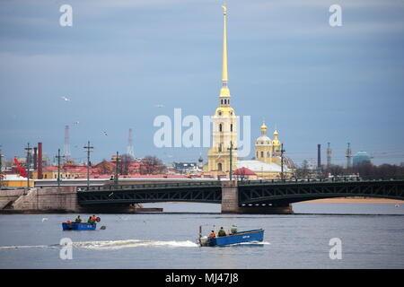 St Petersburg, Russia. 04th May, 2018. ST PETERSBURG, RUSSIA - MAY 4, 2018: RKL fish company [former V.I. Lenin Fishing Collective Farm] employees catching smelt in the Neva River. Pictured in the background is the Peter and Paul Cathedral. Peter Kovalev/TASS Credit: ITAR-TASS News Agency/Alamy Live News - Stock Photo