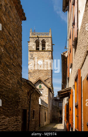Bell tower of Saint Martin church, village of Blesle, labelled the most beautiful villages of France, Haute Loire, Auvergne, France, Europe - Stock Photo