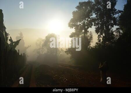 Sunrice over the Yirgacheffee town, Ethiopia. The start of long coffee road - Stock Photo