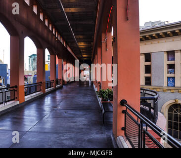 SAN DIEGO/CALIFORNIA - AUGUST 17, 2017: Hall way in Westfield Horton Plaza Shopping Center in San Diego Downtown. - Stock Photo