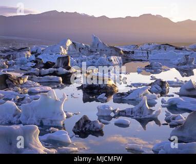 Glacier lake Jökulsárlón at Vatnajökull on Iceland, - Stock Photo