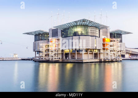 Oceanarium of Lisbon which is the biggest in Europe, Portugal - Stock Photo