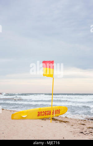 lifeguard on the beach of Sandvig, behind the stormy Baltic Sea, Europe, Denmark, Bornholm, - Stock Photo