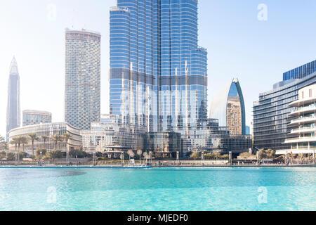 Dubai, Burj Khalifa ground detail with fountain - Stock Photo