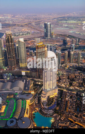 Dubai city view from above, sunset - Stock Photo