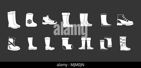 Boots icon set vector white isolated on grey background - Stock Photo