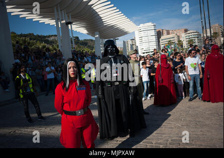 May 5, 2018 - Malaga, Spain - A member of the 501st Legion Spanish Garrison dressed as ''Darth Vader'' from the movie saga Star Wars stands as he performs during a charity parade in favour of bone marrow donation, organized by the Luis Olivares foundation. Hundreds of volunteers from the 501st Legion Spanish Garrison, an association that promote the hobby for the movie Star Wars and contribute in solidarity causes, took the main streets in downtown Málaga with the objective of encourage the bone marrow donation and the fight against cancer. (Credit Image: © Jesus Merida/SOPA Images via ZUMA W - Stock Photo