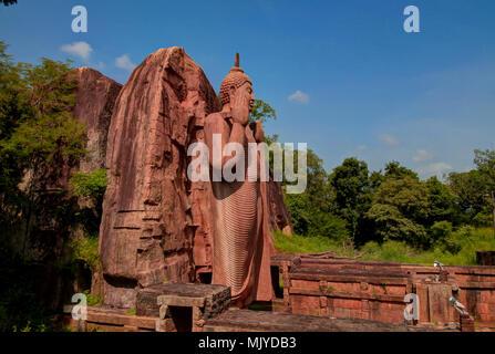 Colossal Statue of Avukana Buddha image in Sri Lanka - Stock Photo
