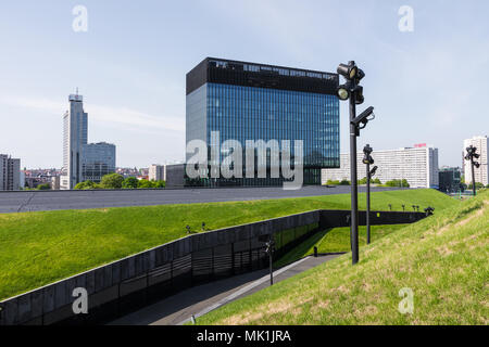 KATOWICE, POLAND - MAY 05, 2018: Fragment of a green passage across the roof of recently launched modern complex, The International Conference Centre. - Stock Photo