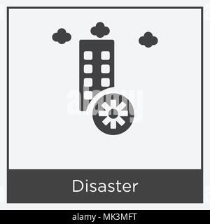 Disaster icon isolated on white background with gray frame, sign and symbol - Stock Photo