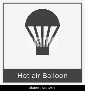 Hot air Balloon icon isolated on white background with gray frame, sign and symbol - Stock Photo