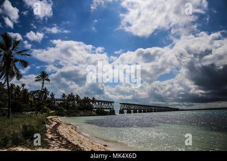 A view of the extremely photogenic Bahia Honda Rail Bridge from Bahia Honda State Park, Florida, USA - Stock Photo