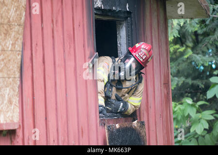 Live Fire Training North Mason Fire Deparement, Washington State, USA - Stock Photo