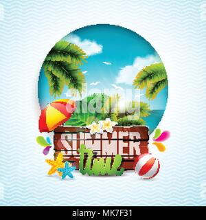 Vector Summer Time Holiday typographic illustration on vintage wood background. Tropical plants, flower, beach ball and sunshade with ocean landscape. Design template for banner, flyer, invitation, brochure, poster or greeting card. - Stock Photo