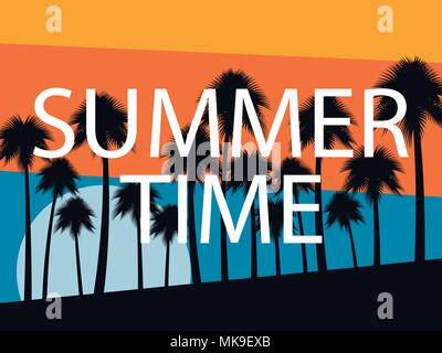 Palm trees on a sunset background. Summer time. Tropical landscape, beach vacation. Vector illustration - Stock Photo
