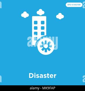 Disaster vector icon isolated on blue background, sign and symbol - Stock Photo