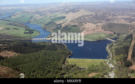 aerial view of Ladybower Reservoir in the Peak District, UK - Stock Photo