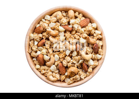 Close up top view granola in the bowl on isolated with clipping path. - Stock Photo