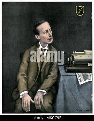 Caricature of Marconi with his wireless, 1903. Hand-colored halftone of an illustration on the cover of Harper's Weekly - Stock Photo