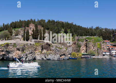 Cruise boat on Ohrid Lake, Macedonia, Eastern Europe - Stock Photo