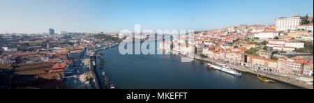 Panorama of Douro River between Oporto and Vila Nova de Gaia margins - Stock Photo