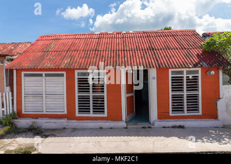 Wooden colorful house in Mexico. Siesta time is a must, especially during summer afternoons. - Stock Photo