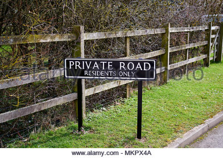 Private Road in Oxfordshire in the Cotswolds - Stock Photo