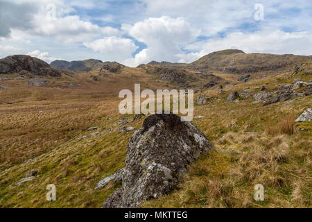From just above Wrysgan Quarry the summits of Moelwyn Bach (on the left) and Moelwyn Mawr (on the right) can be seen - Stock Photo