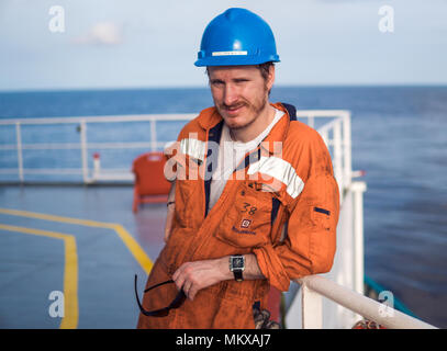 Marine Deck Officer or Chief mate on deck of ship - Stock Photo