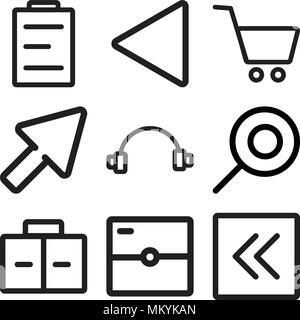Set Of 9 simple editable icons such as Left arrow, Photo camera, Briefcase, Search, Headphones, Cursor, Shopping cart, Rewind, Calendar, can be used f - Stock Photo