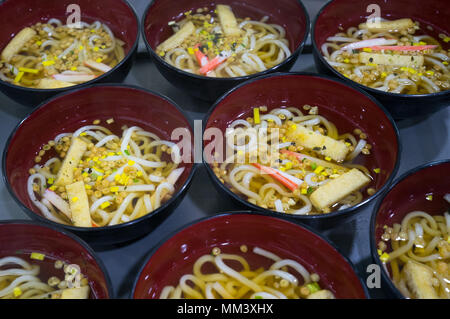 Udon bowls on the table, prepare for serves - Stock Photo
