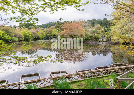 The beautiful garden of the Ryoan-ji temple, Kyoto, Japan - Stock Photo