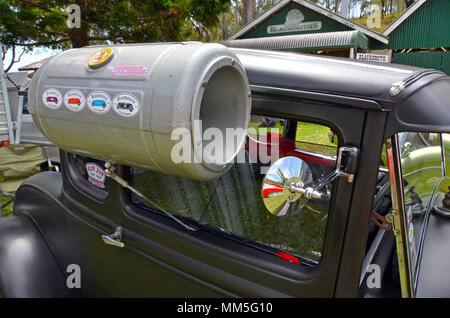 vintage thermador car cooler on side of hot rod at a car show in queensland, australia, works by water evaporation in air  forced in through driving - Stock Photo
