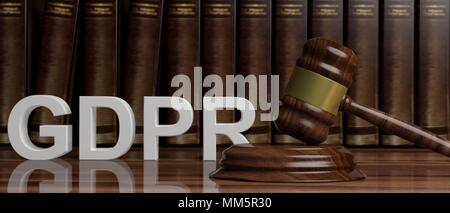 EU General Data Protection Regulation. GDPR and judge gavel on law books background - Stock Photo