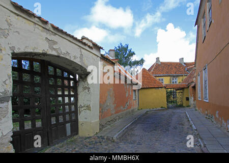 Street view with old colorful houses in the old town of Tallinn, Estonia - Stock Photo