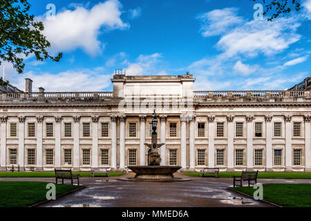 London, Greenwich. Trinity Laban Conservatoire of Music and Dance in King Charles Court. Historic Old Royal Naval College Building - Stock Photo
