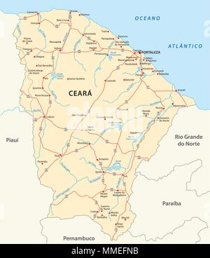 road vector map of the brazilian state ceara - Stock Photo