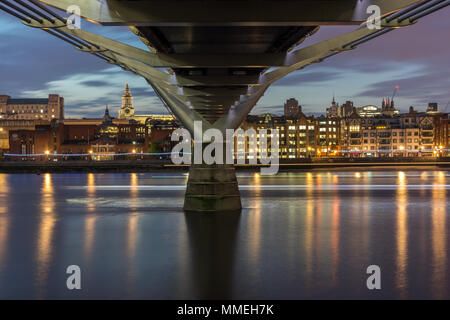 Amazing Night view of St. Paul's Cathedral from Thames river, London, England, Great Britain - Stock Photo