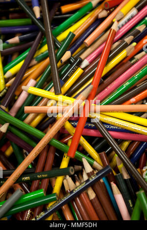 Still life of a collection of colored pencils - Stock Photo
